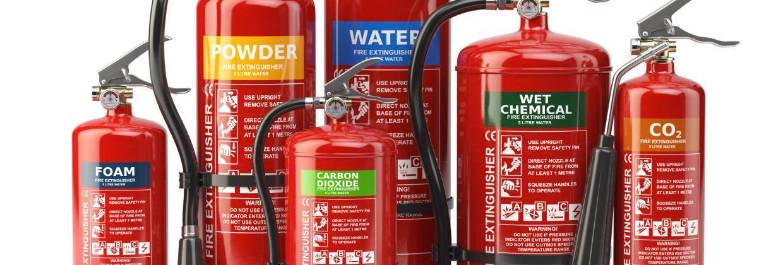 Olika typer av brandsläckare
