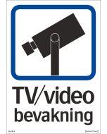 Skylt TV/Video bevakning självhäftande dubbelsidig