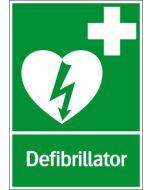 """Första hjälpen skylt """"Defibrillator"""" Systemtext"""
