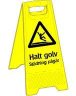 Varning halt golv