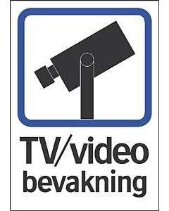 Dekal TV/Video bevakning självhäftande A5