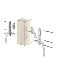 Komplett handtagspaket ASSA Vinga till altandörr med låsbar spanjolett - Täckbricka på utsidan - Spärrvred på insidan