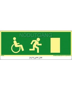 Utrymningsskylt Taktil Nödutgång Handikapp Dörr Höger