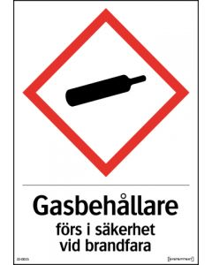 """Varningsskylt """"Gasbehållare förs i säkerhet vid brandfara"""" A4 Reflekterande"""