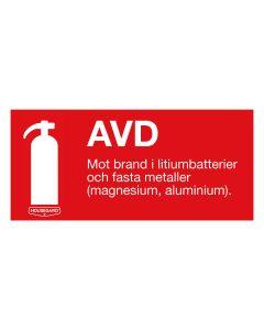 """Brandskylt """"AVD - Mot bränder i litiumbatterier"""""""
