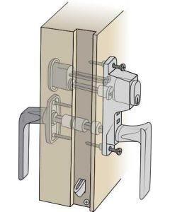 Komplett handtagspaket ASSA till altandörr med enkel båge och låsning från både in- och utsidan