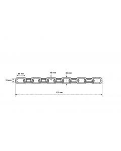 Låskätting i klass 3 ABUS 10 KS 170 cm - Ritning med mått
