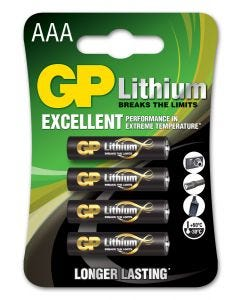 Lithiumbatteri GP Batteries AAA - 4-pack