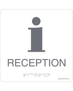 Skylt Taktil Reception Vit Systemtext