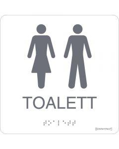 Skylt Taktil Toalett Dam/Herr Vit Systemtext