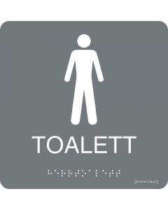 """Taktil skylt """"Toalett Herrar"""" Grå"""