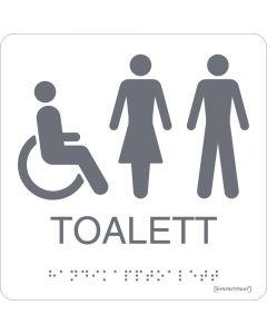 Skylt Taktil Toalett Rullstol Dam/Herr Vit