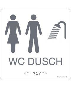"Taktil skylt ""WC/Dusch Dam/Herr"" Vit"