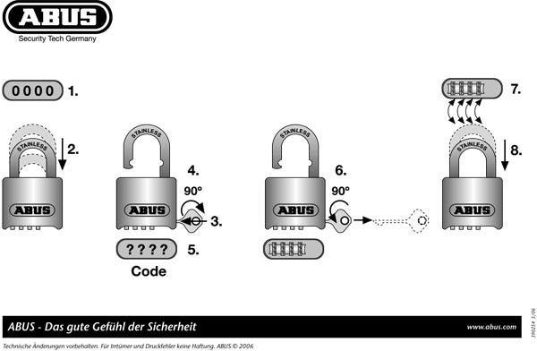 Hur man kodar om ett ABUS hänglås med kod